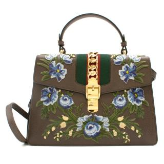 Gucci Taupe Floral Embroidered Sylvie Top Handle Bag