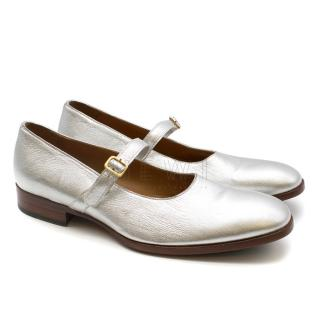 Alexander McQueen Silver Men's Buckle Detail Loafers