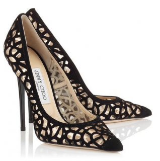 Jimmy Choo Anouk Laser Cut Suede Black Pumps
