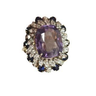 Bespoke Russian alexandrite, diamond and sapphire ring