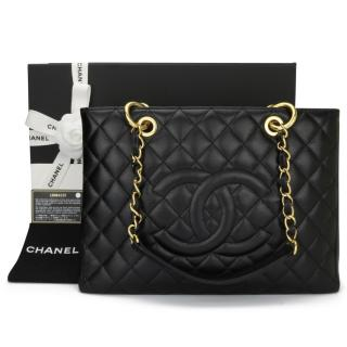 Chanel Black Caviar Grand Shoulder Shopping Tote