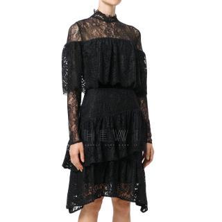 Perseverance London Paisley Black Ruffled Dress