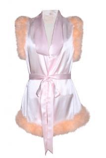 Maguy de Chadirac Marabou Feather Trim Silk Sleeveless Pyjama Jacket