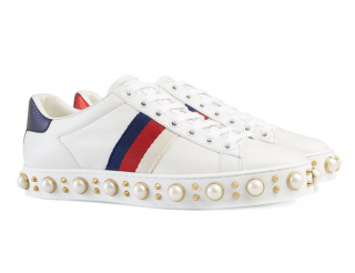 Gucci Ace Pearl Studded Sneakers