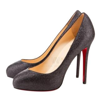 Christian Louboutin  Black Glitter Declic 120 Pumps