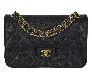 Chanel Black Caviar Leather Jumbo Flap Bag