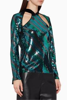Rixo Teal Sequin Hazel Top