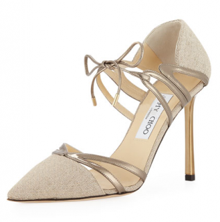 Jimmy Choo Hime Linen & Leather Pumps