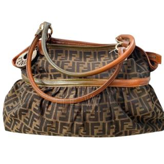 Fendi Zucca Print Canvas & Leather Hobo Bag
