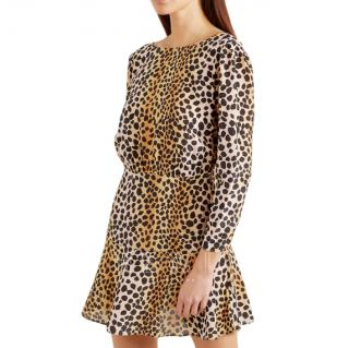 Rixo Kyla leopard-print silk crepe de chine mini dress