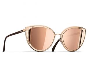 Chanel 18kt Rose Gold Mirrored Cat-Eye Sunglasses - New Season