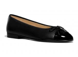 Chanel Lambskin & Patent Calfskin Black Ballerina Flats