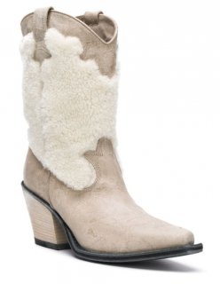 McQ Shearling & Leather Cowboy Boots