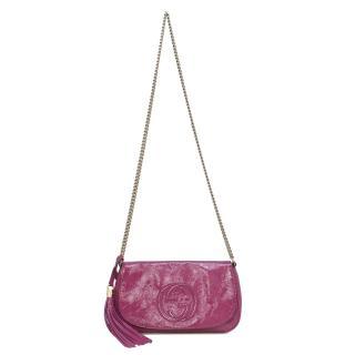Gucci Pink Patent Soho Chain Shoulder Bag