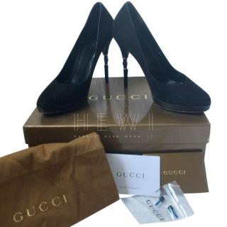 Gucci Black Suede Bamboo Heel Pumps