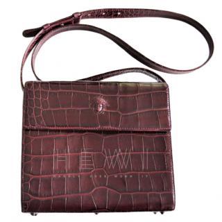 Gianni Versace Vintage Croc Embossed Burgundy Shoulder Bag