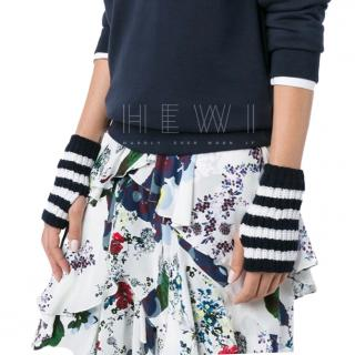 Gucci navy blue and white fingerless gloves