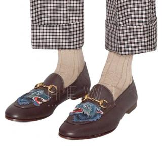 Gucci Men's Wolf Embroidered Brixton Loafers