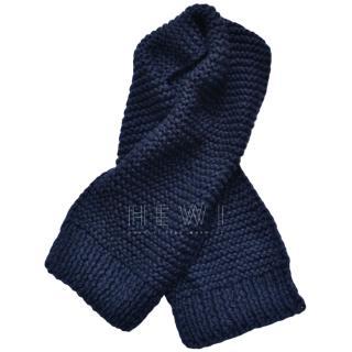 Stella McCartney navy hand knitted alpaca chunky scarf