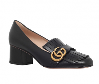 Gucci Black Leather Marmont 55 Mid-Heel Loafers