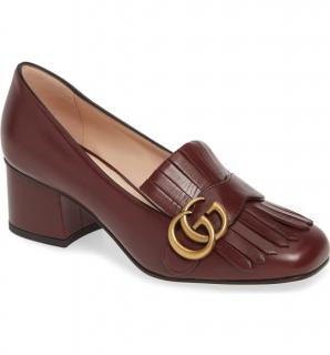 Gucci Brown Leather Marmont 55 Mid Heel Loafers