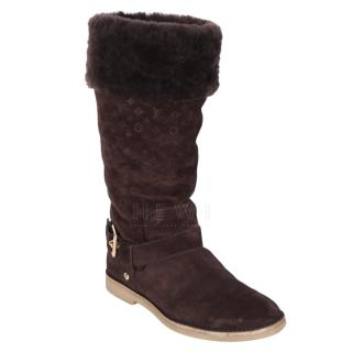 Louis Vuitton Fauvist Shearling Suede Boots in Brown