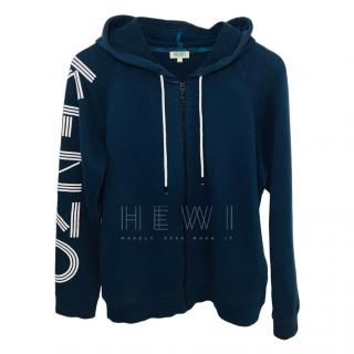 Kenzo Navy Logo Arm Zipped Hoodie