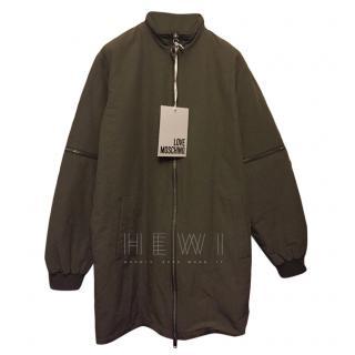 Love Moschino Khaki Oversize ZIp Detail Jacket