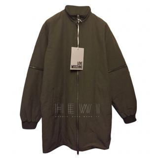 Love Moschino Khaki Oversize ZIp Detail Jacket