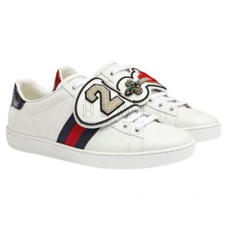 Gucci White Leather Patches Ace Sneakers