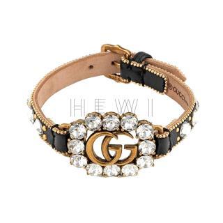 Gucci Crystal GG Leather Bracelet