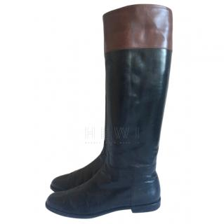 Salvatore Ferragamo black & brown leather riding boots