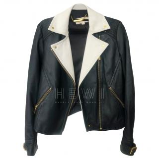 Michael Michael Kors Black & White Leather Biker Jacket