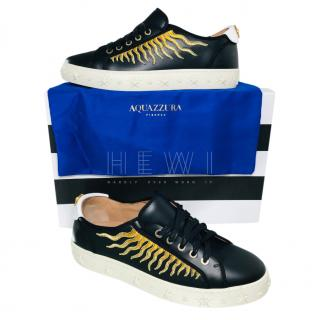 Aquazzura Black Leather Sun Ray Sneakers