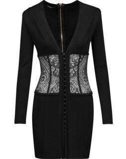 Balmain Black Lace-paneled Stretch-knit Mini Dress