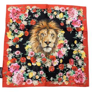 Dolce & Gabbana Floral Lion Print Scarf