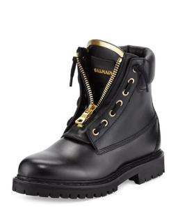 Balmain black leather lace up taiga boots