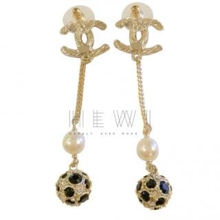 Chanel Gold Tone Crystal Drop CC Earrings