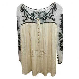 Temperley Sheer Embroidered Silk Blend Tunic
