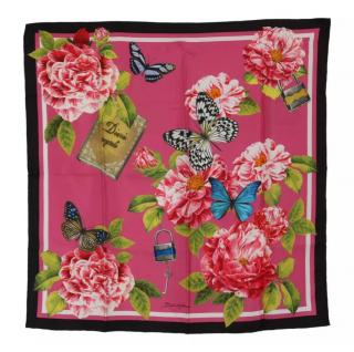 Dolce & Gabbana Pink Rose & Butterfly Print Silk Scarf