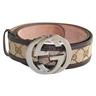 Gucci Monogram Canvas Leather Trim Belt