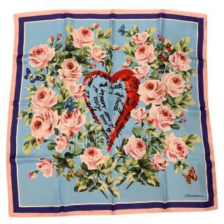 Dolce & Gabbana Rose Heart Print Silk Scard