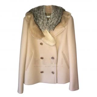 Prada Virgin Wool Jacket W/ Fox & Mink Fur Collar