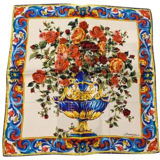 Dolce & Gabbana Sicily Vase Print Silk Headscarf