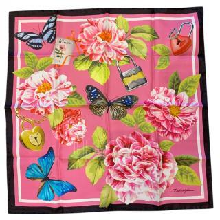Dolce & Gabbana Roses & Butterflies printed silk scarf