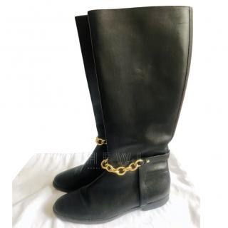 Burberry Chain Trim Black Leather Boots