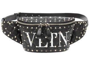 Valentino Black Logo Studded Belt Bag