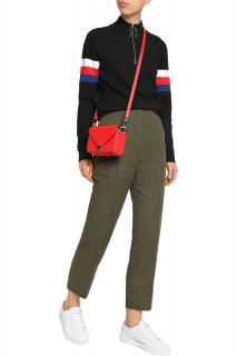 SANDRO Candice cropped cotton-blend Straight Leg Trousers