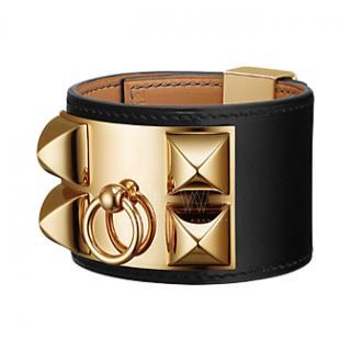 Hermes Black Leather Collier De Chien Bracelet