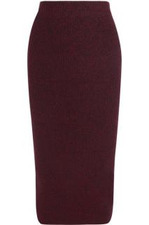 Maje Burgundy Stretch Knit Wool Blend Skirt